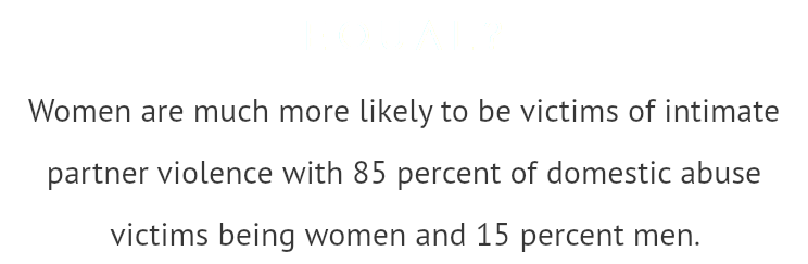 EQUAL? Women are much more likely to be victims of intimate partner violence with 85 percent of domestic abuse victims being women and 15 percent men.